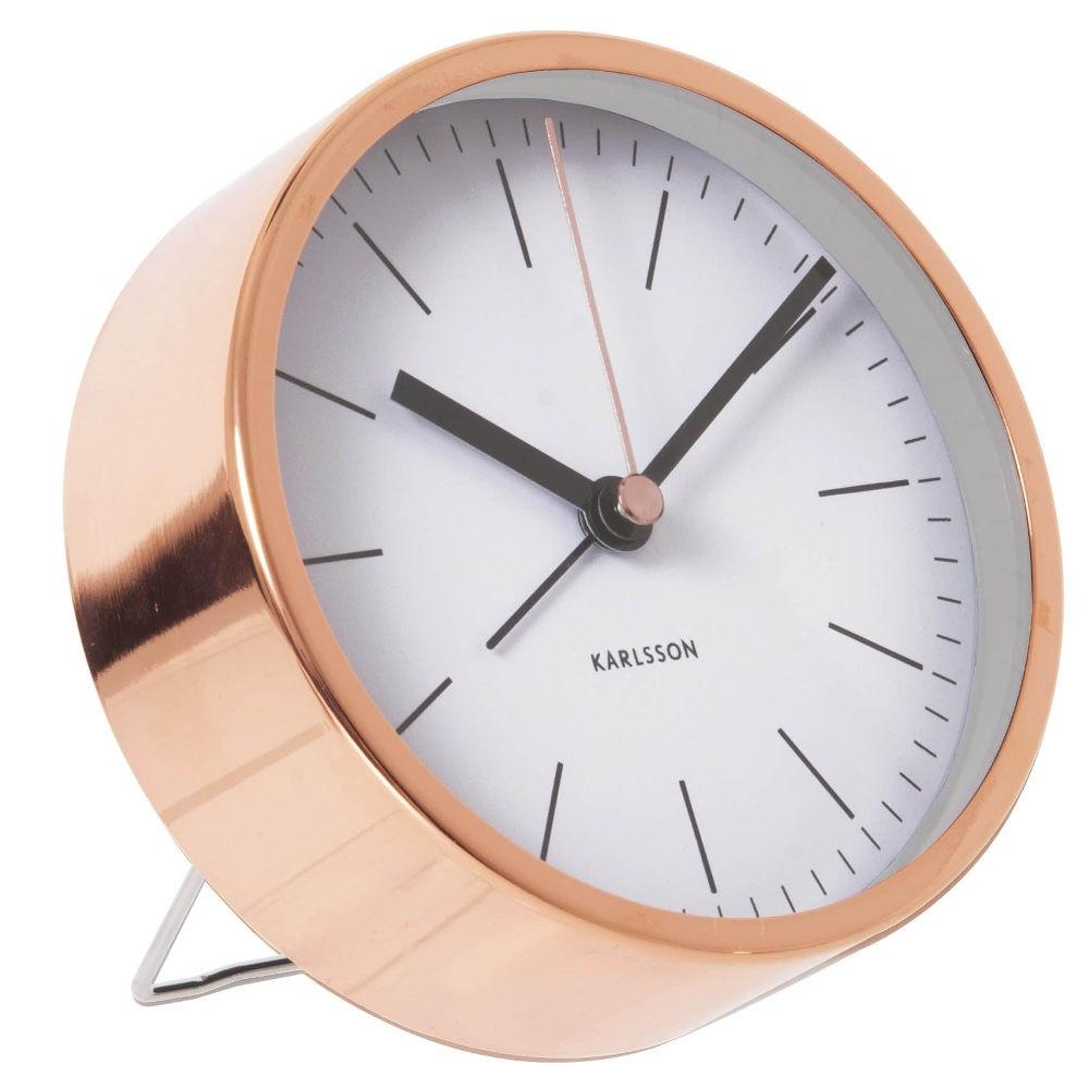 Minimal Alarm Clock Copper - White