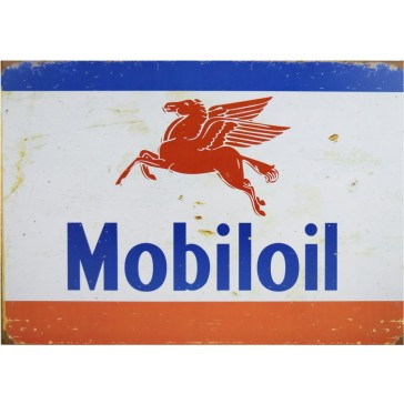 Mobiloil Pegasus Rusted Tin Sign