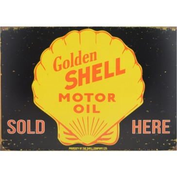 Golden Shell Motor Oil Tin Sign