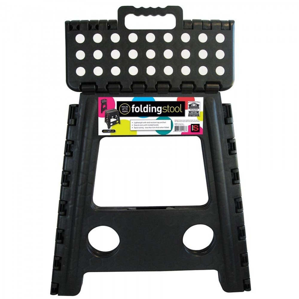 Folding Step Stool Large Black White Dots