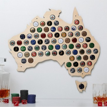 Australia Plywood Beer Cap Map