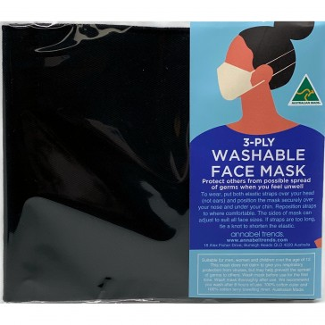Face Mask - Surgical Style - Black - Aussie Made