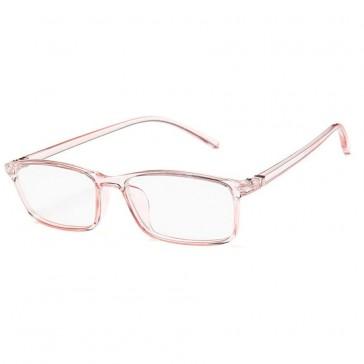 Blue Light Blocking Glasses Baby Pink Transparent Slim Square