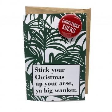 Urban Attitude Stick Your Christmas - Greeting Card + Badge