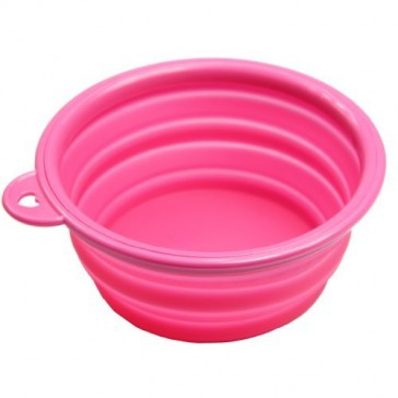 Silicone Collapsible Dog Bowl - Pink