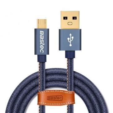 Denim USB Charging Cable with Leather Cable Organiser