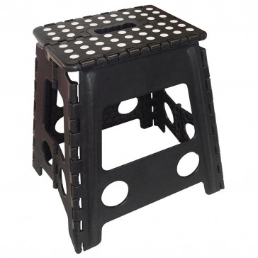 Folding Stool Large Black - White Dots