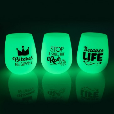Glow In The Dark Silicone Stemless Wine Tumbler