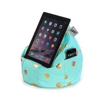 iCrib Tablet Bean Bag Cushion - Powder Blue Gold Coin