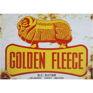 Golden Fleece Ram Dogbone Tin Sign