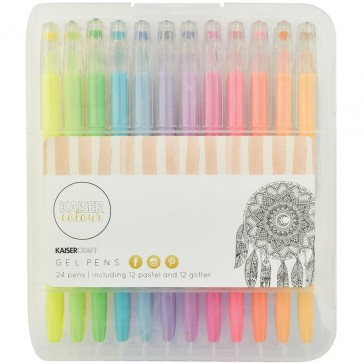 Colouring Book Gel Pens (12 Pastel + 12 Glitter)