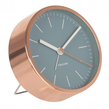 Minimal Alarm Clock Copper - Blue