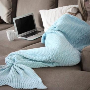 Luxe Mermaid Tail Blanket in Duck Egg Blue