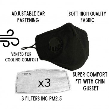 Washable Comfortable Face Mask with Vent and Filter