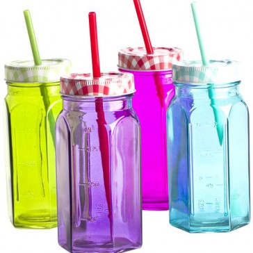 Mason Jar Drink Bottle Set - Coloured