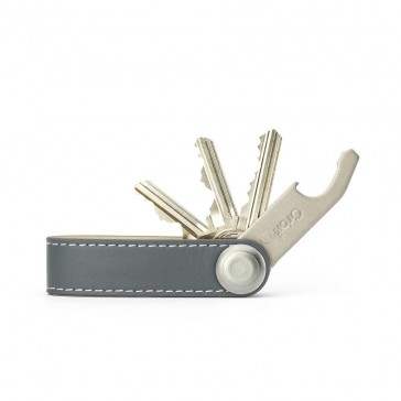Orbitkey Leather - Grey / White Stitching