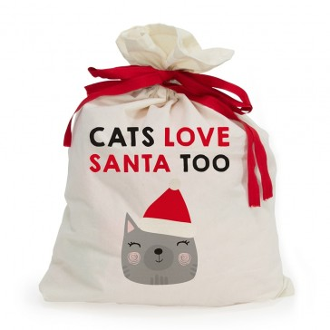 Cat Love Santa Too Canvas Santa Sack