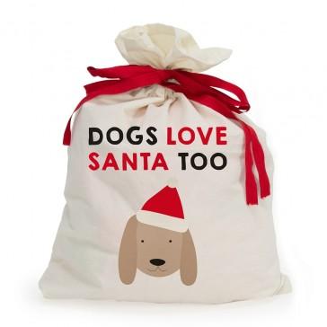 Dogs Love Santa Too Canvas Santa Sack1