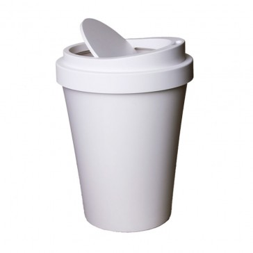 Qualy Coffee Cup Shaped Waste Bin - 34cm - White