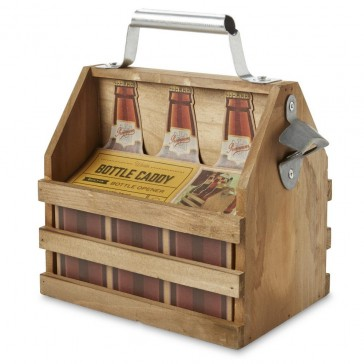 Wooden Beer Bottle Caddy with Opener
