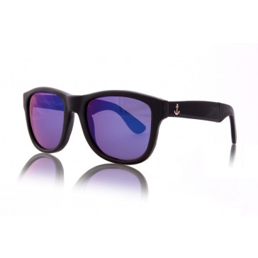 Royal Aquamarine Rockefeller Leather Wrap Midnight Black Sunglasses