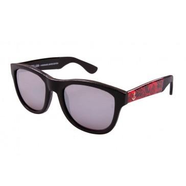 Royal Aquamarine Rockefeller Leather Wrap Royal Red Sunglasses