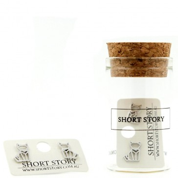 Short Story Origami Stencil Earrings