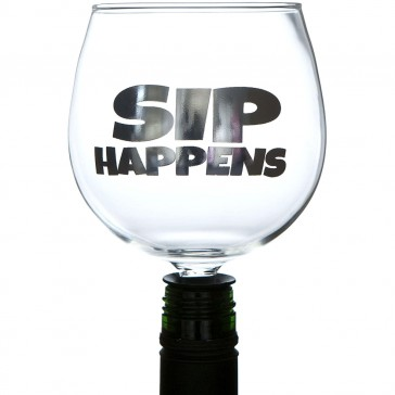 Sip Happens Wine Bottle Tipple Topper Guzzler