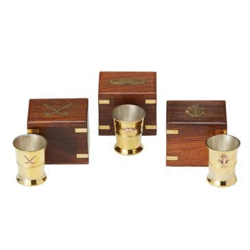 Shot Glass in Wood and Brass Keepsake Box
