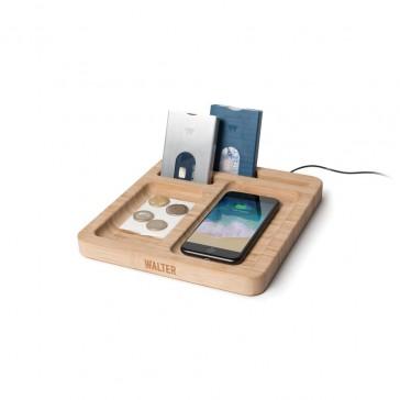 Walter Bamboo Wireless Charging Dock Desk Tidy
