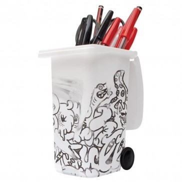 Wheelie Bin Desk Tidy - Drywipe With Pen