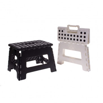 Folding Stool Small White - Black Dots