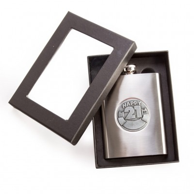 21st Birthday Personalisable Metal Hip Flask