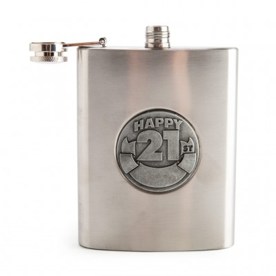 21st Hip Flask Personalisable
