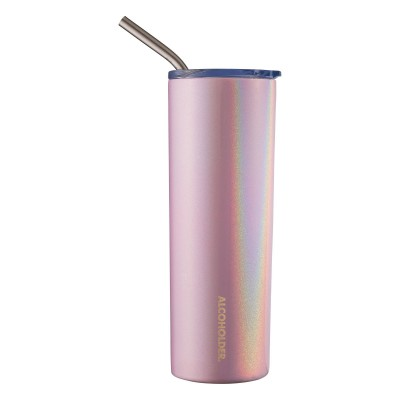 Alcoholder SKNY Slim Glitter Holographic Vacuum Insulated Skinny Tumbler