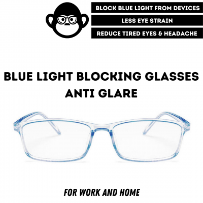 Blue Light Blocking Glasses - Digital Eyewear -Transparent Blue Slim Square