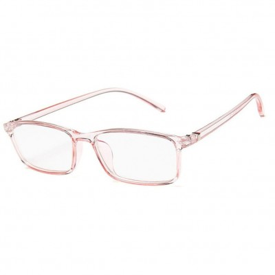 Blue Light Blocking Glasses Baby Pink Transparent Slim Square