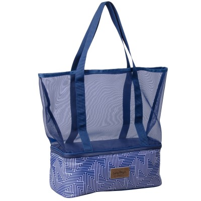 Zip Cooler Mesh Tote Beach Bag - Makena