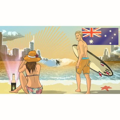 Cooler Torch - Drink Illuminator & Torch - Aussie Beach