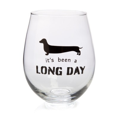 Been A Long Day Dachshund Stemless Wine Glass