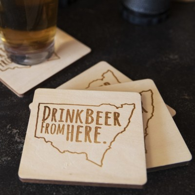 Drink Beer from Here Plywood Beer Coasters