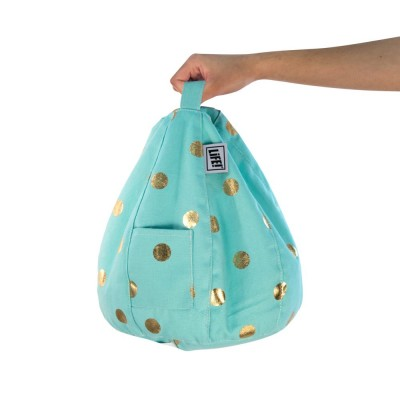 iCrib Tablet Bean Bag Cushion - Powder Blue Gold Coin