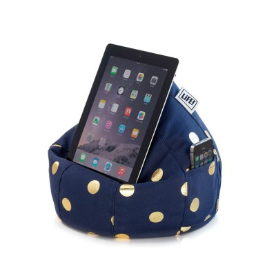 iCrib Tablet Bean Bag Cushion - Navy Gold Coin