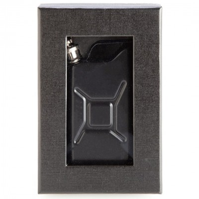 Jerry Can Metal Hip Flask Matte Black with Keychain