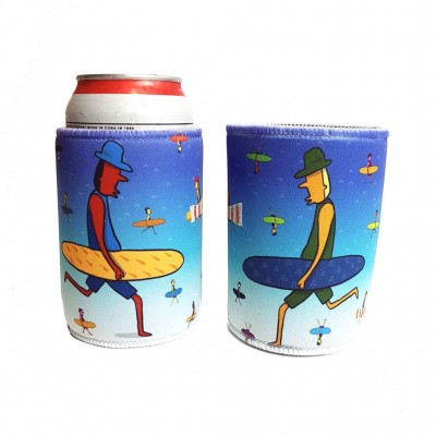 Kurly Wurly Bar Stubby Holder Cooler - Surfer Dudes - Blue
