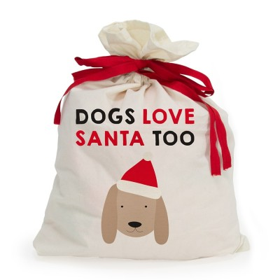 Dogs Love Santa Too Canvas Santa Sack1
