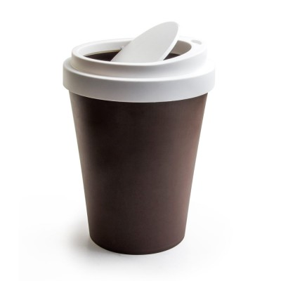 Qualy Coffee Waste Bin - 21cm - Brown