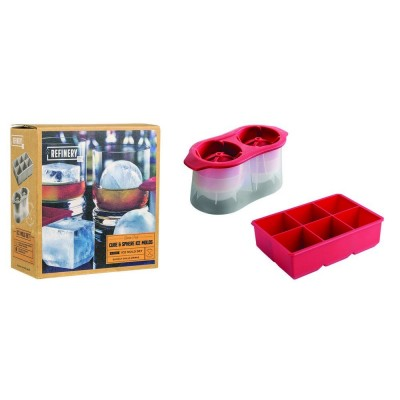 Cube & Sphere Ice Molds - 2pc Set