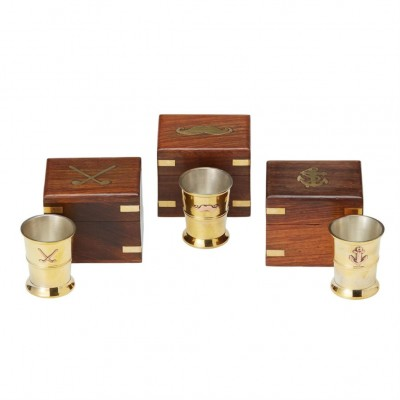 Shot Glass in Wood and Brass Keepsake Box